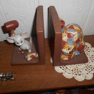 RARE Vintage VTG Ceramic Cat Mouse Bookends ends